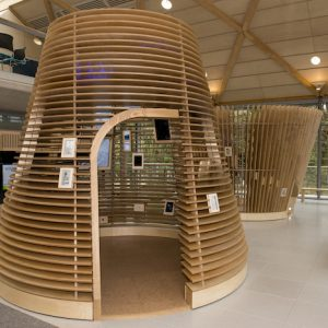 The Visitor experience designed by Jason Bruges Studio in the lobby of The Living Planet Centre which allows WWF-UK to welcome visitors of all ages into the eco building to witness the WWF experience and gain an insight into the work of WWF in the natural world. The four experience zones cover the four key areas of WWF's work, wildlife, oceans, rivers, forests.  © Stonehouse Photographic / WWF-UK